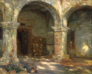 JOSEPH KLEITSCH - Mission Cloisters, San Juan Capistrano - oil on canvas - 22 1/8 x 27 in.