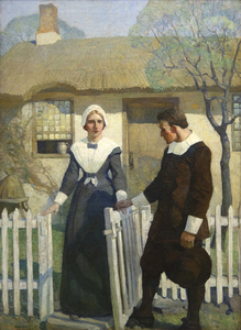 "Initially used as a frontispiece illustration for the 1914 novel, ""The Witch,"" by Mary Johnston, Wyeth's painting presents a poignant scene of friendship and understanding between a grieving, independent woman and a generous, misunderstood doctor. Although the two hardly know each other, they have a shared understanding of and reverence for what is good. While the rest of the town searches for the devil in all things, these two choose kindness and light. Here, they take a moment to appreciate the lives they have led and the good they have done. Wyeth's illustration depicts hope and expectation of good despite the perils and sorrows of human life.