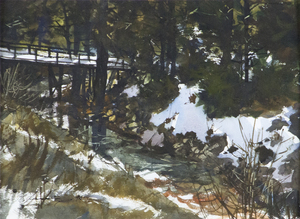 GREGORY SUMIDA - Brook's Bend - watercolor - 10 1/2 x 14 1/2 in