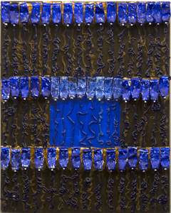 ARMAN-Untitled (Blue Over Brown)