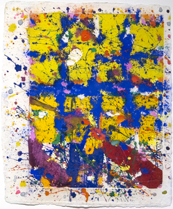Title: Coincident Blue & Gold , Date: 1980 , Size: 30 1/2 x 25 in. , Medium: monotype on handmade paper with dry pigments