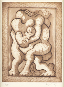 JACQUES LIPCHITZ - Couple ed Enfant - etching, engraving and aquatint - 12 3/4 x 9 1/4 in.