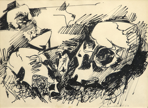 Title: Momento Mori (Skull) , Date: 1963 , Size: 9 1/4 x 12 in. , Medium: ink on paper