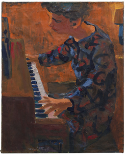 DAVID PARK - Woman at Piano - oil on canvas - 29 1/4 x 24 in.