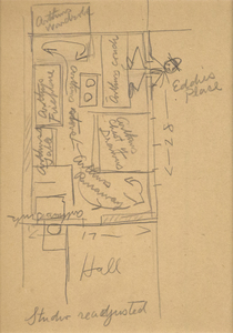 EDWARD HOPPER - Studio Readjusted - graphite on paper - 8 1/2 x 4 1/4 in.