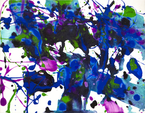 SAM FRANCIS - Untitled - acrylic on paper on board - 12 1/2 x 16 1/8 in.