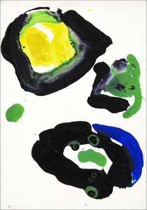SAM FRANCIS - Untitled - acrylic on gessoed masonite wood panel - 9 x 6 1/4 in.