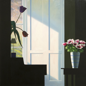 BRUCE COHEN - Untitled, Interior with Lit Anemones and Tulips in the Shadow - oil on canvas - 30 1/4  x 30 1/4 in.