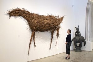 Deborah Butterfield is an American sculptor, best known for her sculptures of horses made of objects ranging from wood, metal, and other found objects. The 1981 piece, Untitled (Horse), is comprised of sticks and paper on wire armature. The impressive scale of this piece creates a remarkable effect in person, presenting a striking example of Butterfield's celebrated subject matter. Butterfield originally created the horses from wood and other materials found on her property in Bozeman, Montana and saw the horses as a metaphorical self-portrait, mining the emotional resonance of these forms.