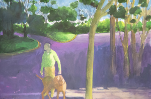 PAUL WONNER - Man and Dog in a Park - acrylic and pencil on paper - 15 x 22 1/2 in.