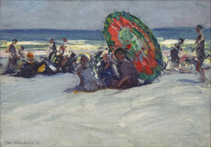 CHARLES HERBERT WOODBURY - Beach Scene with Umbrella - oil on board - 12 x 17 in.