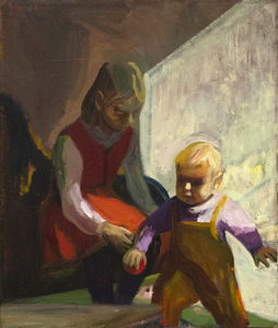 JAMES WEEKS - Two Children - oil on canvas - 411/2  x 35 in.