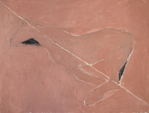 Rothenberg created Diagonal (1975) in the year of her breakout exhibition at 112 Greene Street in New York. Her Horses series reintroduced representational imagery when the dominant trends were abstraction and Minimalism. The painting's expressive brushwork, sense of movement, and simplified forms result in a triumphant blend of figuration and abstraction. As in many of Rothenberg's important works, Diagonal evokes the muted and enchanting colors and atmosphere of her adopted home in the American Southwest.