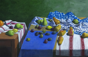 PAUL WONNER - Fruit and Kitchen Towels (Two Tables) - acrylic on paper - 24 3/4 x 38 1/2 in.