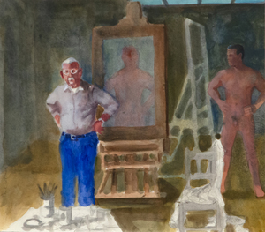 PAUL WONNER - Artist and Model, Hands on Hips - acrylic and pencil on paper - 14 1/4 x 16 1/4 in.