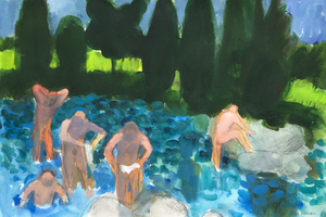 PAUL WONNER - Landscape with Bathers After Cezanne - acrylic and pencil on paper - 14 7/8 x 22 1/2 in.