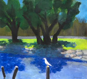 PAUL WONNER - At Mission Rock - acrylic and pencil on paper - 14 1/2 x 16 in.