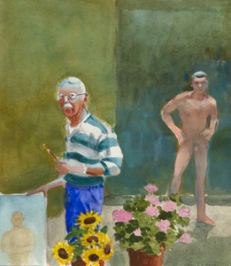 PAUL WONNER - Youth and Old Age: Artist, Model, Pots of Flowers - acrylic and pencil on paper - 14 1/4 x 12 1/4 in.