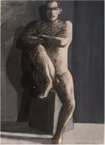 WILLIAM THEOPHILUS BROWN-Untitled Drawing (Nude on Block)