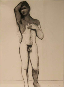 WILLIAM THEOPHILUS BROWN-Untitled Drawing (Standing Nude, Arm on Head)
