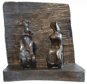 HENRY MOORE - Two Seated Figures Against Wall - bronze with brown patina - 19 5/8 x 19 3/8 x 9 3/4 in.