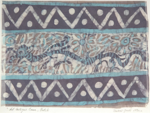 JAE KON PARK - About Ancient Korea - batik on fabric - 9 1/4 x 13  in.