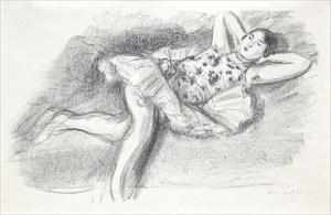 HENRI MATISSE - Danseuse etendue au divan (Dancer Extended on Couch) - lithograph on Japanese paper - 12 3/4 x 18 3/4 in.