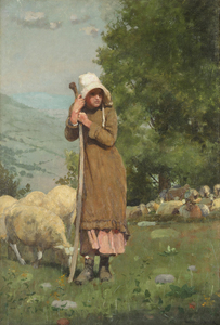 WINSLOW HOMER - The Shepherdess - oil on canvas - 22 3/4 x 15 3/4 in.