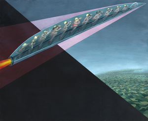 IRVING NORMAN - Flight - oil on canvas - 60 x 74 in.