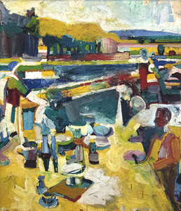 """Picnic in Yellow"" is a painting from Roland Petersen's famed ""Picnic Series"". From 1961, the theme of picnics became central to Petersen and showcased his skill with, color, paint, and composition. Within this series and in this painting, there is a thoughtful and meticulous arrangement of figures around a table and nestled within the landscape. So, too, are there intense diagonals that cut across the painting, emphasized with both planes of color and thick paint.