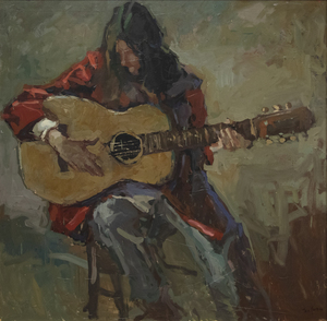 S.C. YUAN - The Guitar Player - oil on canvas - 43 x 43 in.