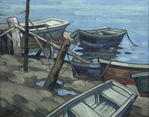 RICHMOND KELSEY - The Old Boats - oil on canvas - 16 x 20 1/4 in.