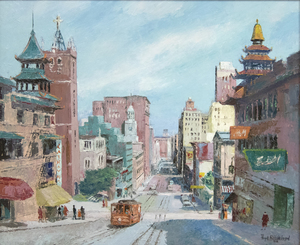 FLOYD HILDEBRAND - California Street - oil on board - 24 1/8 x 29 1/4 in.