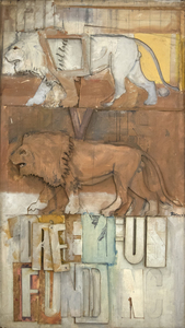 """Lions on the Dreyfus Fund, Inc."" demonstrates Rivers's Pop Art aesthetic through its repetition of imagery and a well-known corporate brand of the time. The lion forms featured prominently in the painting were a logo for the Dreyfus fund, as well as art historical symbols in their own right. Rivers would have at least seen pictures of the ancient archetypes for such imagery as the ""Ishtar Gate"" from 575 B.C. in what is now the country of Iraq. Rivers's love of travel and exploration brought him to Africa for seven months, where he would have been able to study a diverse menagerie for his artwork firsthand.    