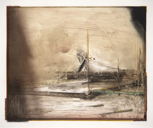 NATHAN OLIVEIRA - New Mexican Site #16 - monotype, hand-painted - 26 x 30 in.