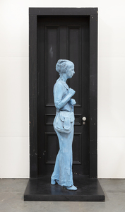 GEORGE SEGAL - Blue Girl in Front of Black Door - plaster and wood - 100 x 31 1/2 x 35 in.