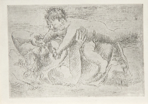 PABLO PICASSO - Joie Maternelle - etching on laid paper - 3 7/8 x 5 3/4 in.