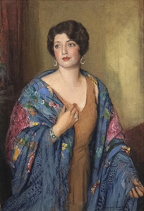 JOSEPH KLEITSCH - Portrait of Ruth E. Bach - oil on panel - 39 1/2 x 26 3/4 in.