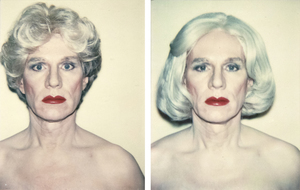 ANDY WARHOL - Self-Portrait in a Platinum Wig; Self-Portrait in a Platinum Pageboy Wig - Polaroid, Polacolor - 4 1/4 x 3 3/8 in. ea.