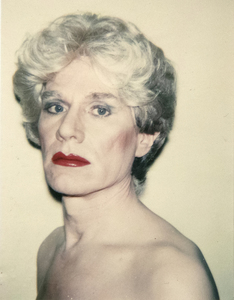 ANDY WARHOL - Andy Warhol, Self-Portrait in Drag - Polaroid Polacolor Type 108 print - 4 1/4 x 3 1/2 in.