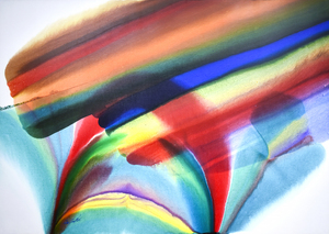PAUL JENKINS - Phenomena Rainbow Rush - acrylic on canvas - 58 x 82 in.