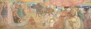 """Under the Striped Umbrella"" is a mural painting by Frederick Carl Frieseke, an American Impressionist who spent most of his productive years as an expatriate in France. Department store magnate Rodman Wanamaker commissioned the 15-foot-long painting for the Hotel Shelburne in Atlantic City. Frieseke designed it as a single composition in 1905, and completed it in segments in 1906. Ultimately, the painting depicts elegant young ladies with bonnets, as well as several children playing in the sand and figures on horseback enjoying a day at the beach under striped parasols. 