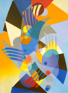 Stanton Macdonald-Wright was a co-founder of the Synchromism movement, which combined abstraction and intense color. He was influenced by ideas that the qualities of color were connected to the qualities of music. He stopped painting this way in the 1920s, but his work experienced a revitalization in the 1950s, following a retrospective of his work at LACMA. Inspired by the renewed interest, Wright began producing works with increased passion; these works were considered Neo-Synchromism. La Gaîté is a phenomenal example of this period in Wright's career, showcasing the brighter colors and larger canvases he favored during his personal renaissance.