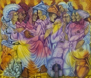 JULIO SUSANA - Vida Musical - oil on canvas - 64 x 80 in.