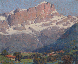 Peaks of St. Gervais is one of the artist's classic landscapes, with his distinctive swift brushstroke and charming town and structures — half of which he rendered in the shade — dwarfed by the snow-capped mountain. In most of his paintings, Payne used structures and figures not as subject, but to communicate the dramatic scale of mountain landscape. Drawn to the mountains of Europe, Payne trekked and painted the Swiss Alps, the colorful harbors of Brittany and France, and the sailing vessels in Italy.