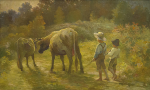 "ADAM EMORY ALBRIGHT - Two Boys with Cows ""Coming Home"" - oil on canvas - 35 3/4 x 59 3/4 i in."