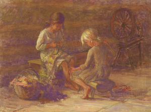 ADAM EMORY ALBRIGHT - Two Girls with Spinning Wheel - oil on canvas - 18 x 24 in.