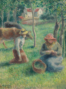 CAMILLE PISSARRO - Les Gardeuses de Vaches - mixed media, gouache and watercolor with charcoal on paper - 11 1/2  x 8 1/2 in.