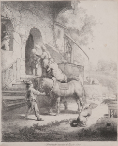 REMBRANDT VAN RIJN - The Good Samaritan - etching - 10 x 8 1/8 in.