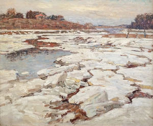 WILLIAM LESTER STEVENS - A River in Winter - oil on canvas - 25 x 30 1/8 in.